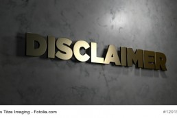 Disclaimer - Gold text on black background
