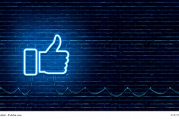 Neon Glowing Like (thumb) Button for Social Media on Brick Wall